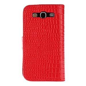 GONGXI- Piel de serpiente de grano de caso completo de cuerpo con bigote negro para Samsung Galaxy S3 I9300 , Rojo