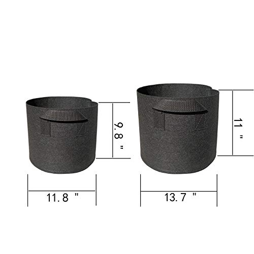 4 Pack Grow Bags,2 Pack 5 Gallon 2 Pack 7 Gallon Black Fabric Round Aeratio Pots Plant Growing Bags Garden Plant Bags with Handle Vegetable/Flower/Plant Grow Containers for Indoor & Outdoor Planting