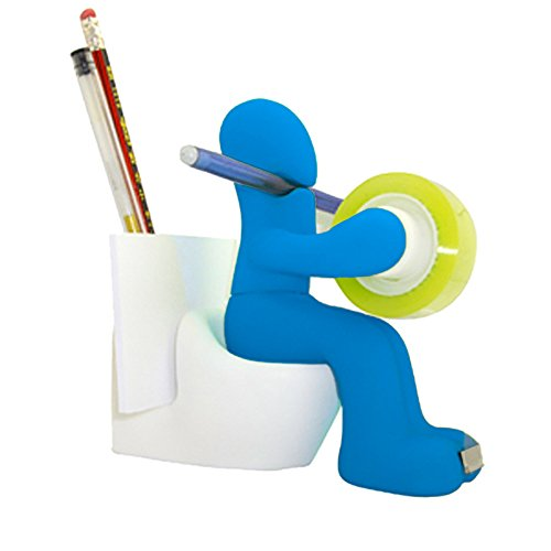 Dirance Personality Storage Villain with seat Toilet Multi-Function Adhesive Tape Pen Holder Stationery Storage Rack Notes Paper Clip Storage Rack (Sky Blue)