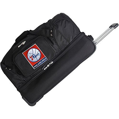 DENCO PHILADELPHIA 76ERS 27'' 2-WHEELED DROP BOTTOM DUFFEL by Denco Luggage 1048749