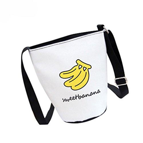 super1798 Fashion Women Cartoon Pattern Crossbody Shoulder Bucket Canvas Bag Gift (Banana - Cartoon Pattern Canvas