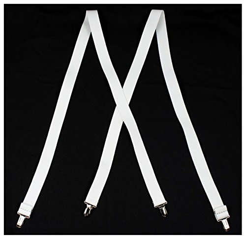 Men's X-Back Suspenders (White) (Great Gatsby Costumes For Men)