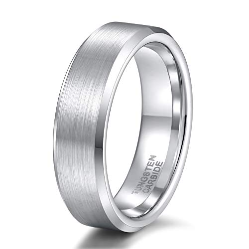 6mm Band Wedding Womens - 6mm Silver Wedding Band for Him and Her Matter Brushed Tungsten Carbide Ring Size 8.5