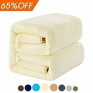 MEROUS Soft Twin Fleece Bed Blanket, Ivory