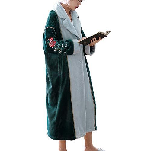 Mujer Bata Albornoz Xl Para Botón Green Abrigo Casa Green De Suave color Tamaño qHBBUxt