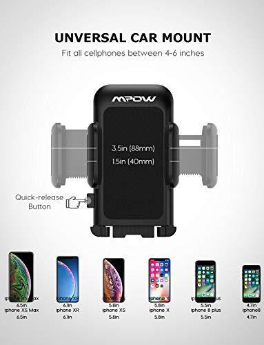 Mpow 033 Cell Phone Holder for Car, Windshield Long Arm Car Phone Mount with One Button Design and Anti-Skid Base Car Holder Compatible iPhone Xs MAX/XS/XR/X/8/7/7P/6s, Galaxy S6/S7/S8,Google,Huawei
