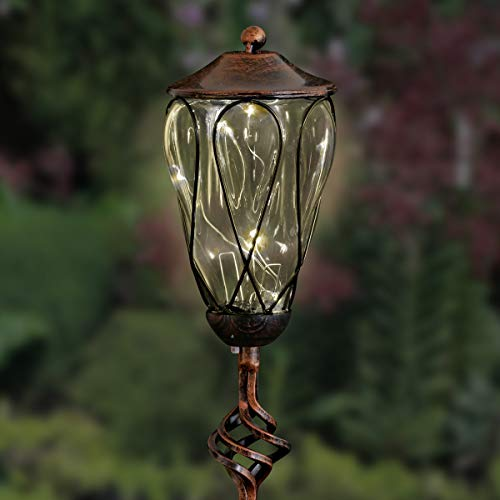 Exhart Solar Clear Glass Yard Stake w/Loop Pattern Metal Wire Design & 6 LED Fairy Lights - Crystal Glass LED String Lights Bronze Finial Metal Stake, Glass Jar Ground Stake, 4