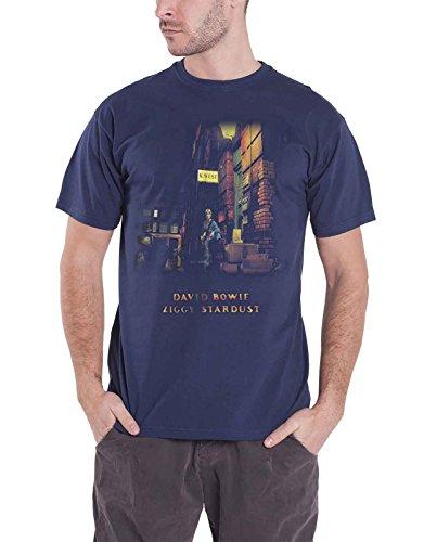 David Bowie T Shirt Ziggy Stardust Album Cover Official Mens Navy Blue