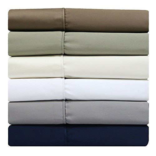 Price comparison product image sheetsnthings 100% Cotton Split-Top-King (Adjustable King Bed Size Sheets) 300TC, Solid Blue, Sateen Weave, Deep Pocket, 4PC Bed Sheet Set