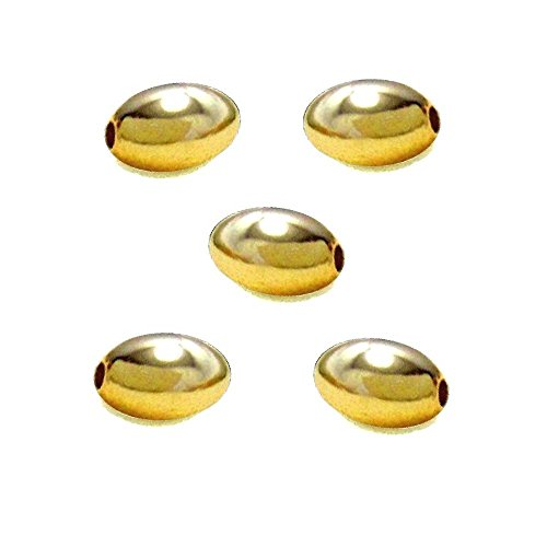 OVAL SPACER 5x3mm METAL BEADS SMOOTH OR RIBBED CHOICE OF Plating 100pc Free Shipping (Gold Plated Smooth)