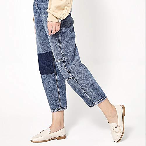 zapatos Mary Mujer Estilo Para Blanco Mujer Planos Mocasines Con Jane Cordones Yxx Y Redondos De Zapatos Primavera wT6gpdSq