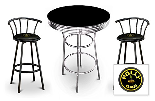 The Furniture Cove New 3 Piece Bar Table Set Includes 2 Swivel Seat Bar Stools featuring Polly Gas Theme with Black Seat Cushion