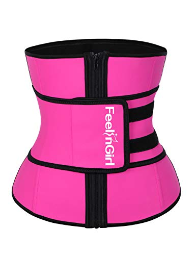 FeelinGirl Latex Underbust Sport Girdle Sauna Suit Top with Adjustable Waist Trimmer Belt -