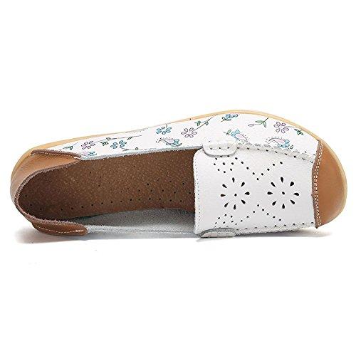 Xmwealthy Mocassini Casual Mocassini Casuali Scarpe Da Guida Pantofola Piatta Interna Bianca