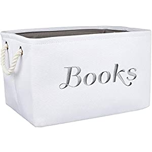 Books Basket, Storage & Organizer Bin for Kids, Baby. White Canvas Fabric Decorative Box with Gray Embroidering.