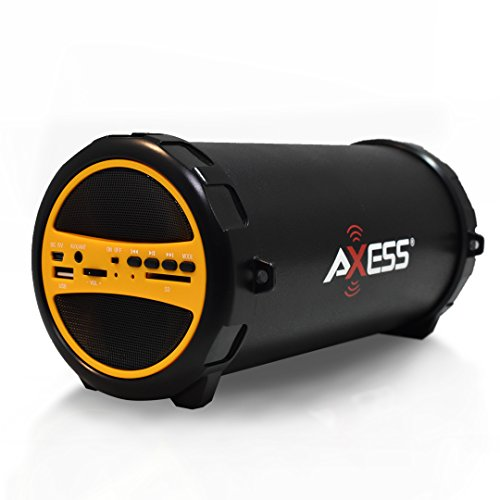 AXESS SPBT1031 Portable Bluetooth Indoor/Outdoor 2.1 Hi-Fi Cylinder Loud Speaker with Built-In 3 Sub and SD Card, USB, AUX Inputs in Yellow