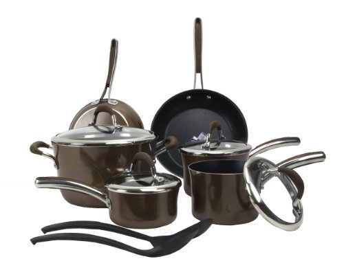 Farberware Affiniti 12-Piece Non-Stick Teflon Cookware Set, Brown | 14177-FARBER