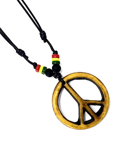 (LAVIP Leather Peace Symbol Necklace - Peace Sign Pendant Rasta Hippie Hemp Hawaiian)