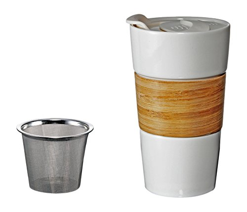 Tryeh Ceramic Mug with Bamboo Sleeve Plus Stainless Steel Infuse, White Lid