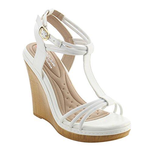 Dbdk Ah21 Womens Sandalo Con Cinturino Alla Caviglia E Zeppa
