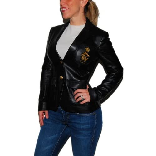 7479f5e2d Polo Ralph Lauren Womens Black Leather Jacket Coat Blazer 4 free shipping