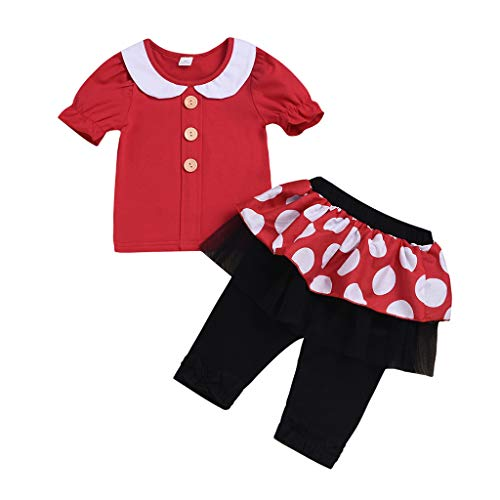 Fabal Toddler Kid Baby Girl Clothes Doll Collar T-Shirt Tops+Dot Long Pants Outfit Set Red