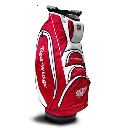 Team Golf NHL Detroit Red Wings Victory Golf Cart Bag, 10-way Top with Integrated Dual Handle & External Putter Well, Cooler Pocket, Padded Strap, Umbrella Holder & Removable Rain Hood
