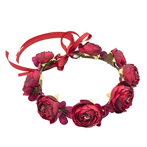 - Vivivalue Boho Flower Crown Rose Flower Headband Hair Wreath Floral Headpiece Halo with Ribbon Wedding Party Photos Festival Red