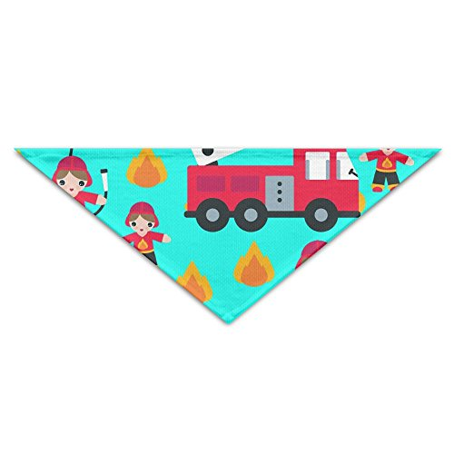 MuaePzdl Cartoon Fireman Fire Truck Turban Triangle Scarf Bib Scarf Accessories Pet Cat And Baby Puppy Saliva Dog Towel
