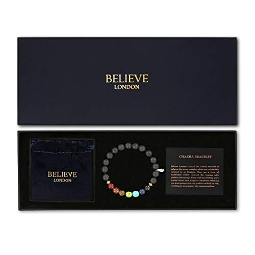 Believe London Chakra Bracelet with Jewelry Bag & Meaning Card | Adjustable Bracelet to Fit Any Wrist 7 Chakra Natural Stone Healing Reiki Yoga (Premium Gift Box 6.5 Inch Bracelet)