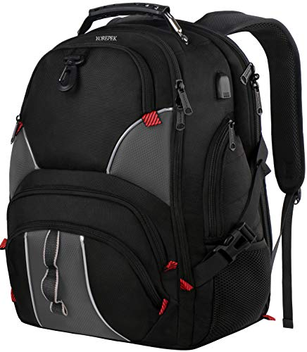 17 Inch Laptop Backpack,Extra Large Travel Backpacks for Men,TSA Friendly Business Computer Backpack with USB Charging Port,50L Large Capacity College School Bookbag with Luggage Sleeve ,Black