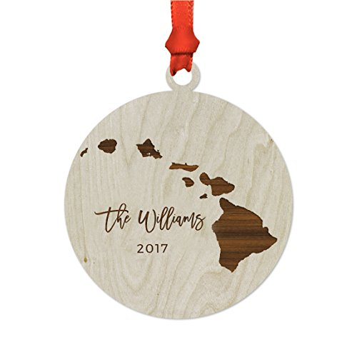 Andaz Press Personalized Laser Engraved Wood US State Christmas Ornament, Custom Names, Hawaii, 1-Pack, Includes Ribbon and Gift Bag