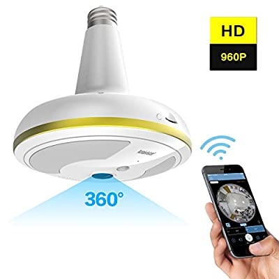 Antaivision Wireless WiFi Security Camera Light Bulb Home Security System 360 Degree with Motion Detection/Night Vision for IOS Android APP