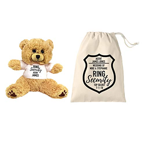 PaperGala Ring Security Teddy Bear and Gift Bag 8 inch Tan Plush Gift for Wedding Party Add Your Custom Name Wedding Thank You Message Proposal (Small 8