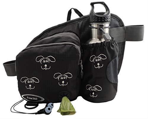(free360 Dog Walking Fanny Pack-Waist Bag Water Bottle Holder Poop Bag Dispenser Leash Ring)