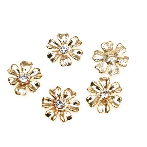 (Monrocco 50 Pcs Gold Metal Flower Buttons Rhinestone Flatback Buttons Embellishments for Crafts Jewelry Making)