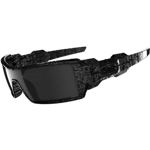 Oakley Men's Oil Rig Polished Sunglasses,Polished Polished Black/Silver Ghost Text/Black Iridium,one - Oakley Sunglasses Casual