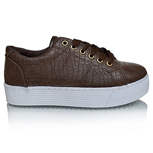 Xelay Womens Ladies Plimsolls Casual Flat Creepers Lace up Pumps Trainers Shoes Fashion Goth Punk Flatforms Size 3-8 Brown Choco Croc Lace Up 02OL9K
