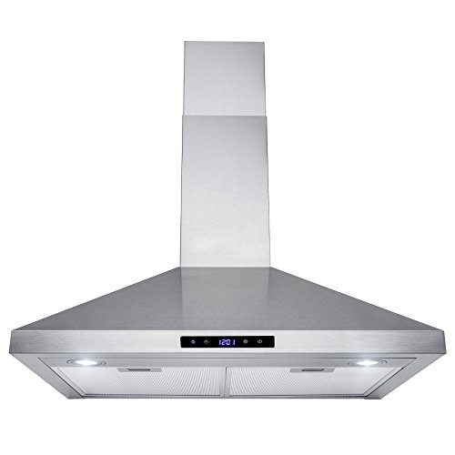 "Golden Vantage 30"" Wall Mount Stainless Steel Touch Control Kitchen Range Hood Cooking Fan w/ Mesh Filter"