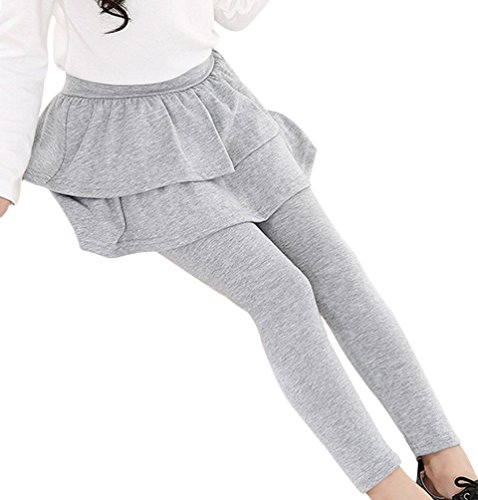 BogiWell Kids Girls Autumn Cotton Stretch Leggings with Ruffle Tutu Skirt Light Gray(US 5-6T, Tag 130) Christmas Lights Render