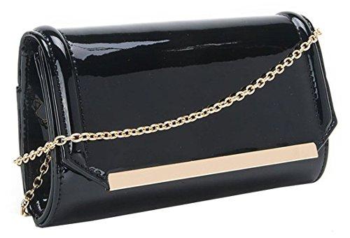 Avec Premium Brillant PU D'embrayage Kukubird Métal En Matière Main Attache À Sac Black Portefeuille Embrayage Doré xp1nqHXaw