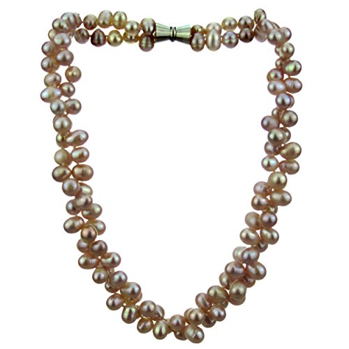Pearl Strand Necklace 18 Inches 7-9mm Lavender 2Row Rice Top Drilled Freshwater Pearl Necklace Twist (Rice Top Drilled)