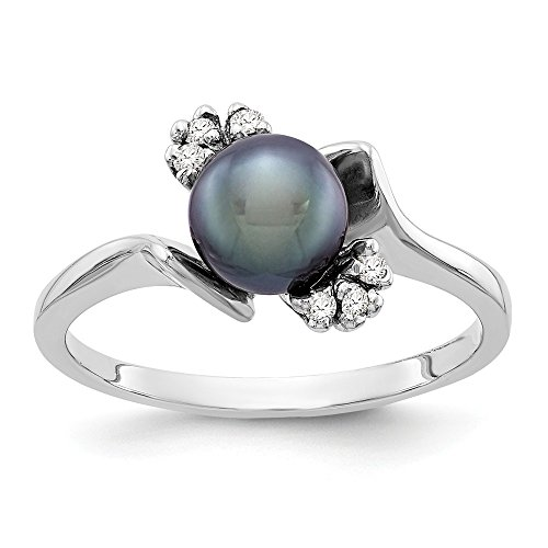 (Size 8.5 - Solid 14k White Gold 6mm Black FW Cultured Pearl AA Diamond Ring)