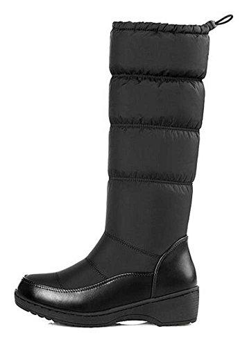Calf Black Platform Trendy Mid Mid Boots Solid Fleeced Womens Heel Winter CHFSO Waterproof Toggle Snow Warm HSW0UUZ