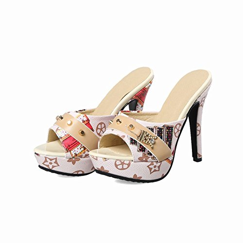 Beige on Slip Mee Platform Sandals Charm Shoes Women's XvwxRFqxf0