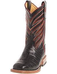 Boys Kids Black Caiman Print Cowboy Boots