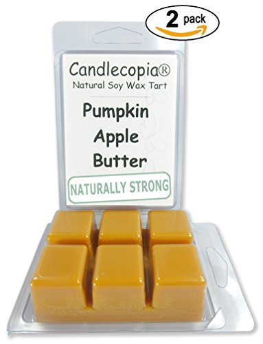 Candlecopia Pumpkin Apple Butter 6.4 ounce Scented Wax Melts - fruity top notes with mid notes of pumpkin, cinnamon, nutmeg and clove all sitting on top of warm vanilla - 2-Pack scented soy wax cubes - Sitting Pumpkin