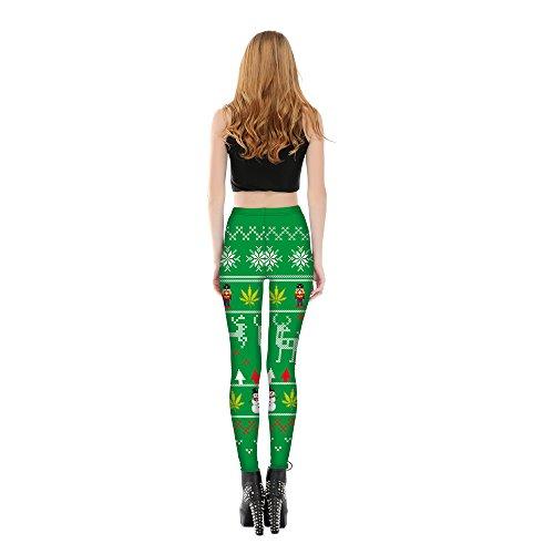 Yoga Jogging Sport Noël Pantalon Legging Vert bonhomme Femme Longue Motif Neige De Acvip 6wqgSXYKK