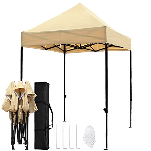 TopCamp 5'x5' Portable Canopy Tent, Pop up Heavy Duty Outdoor Waterproof Beach Party Tents Instant Sun Shelter - Beige by TopCamp