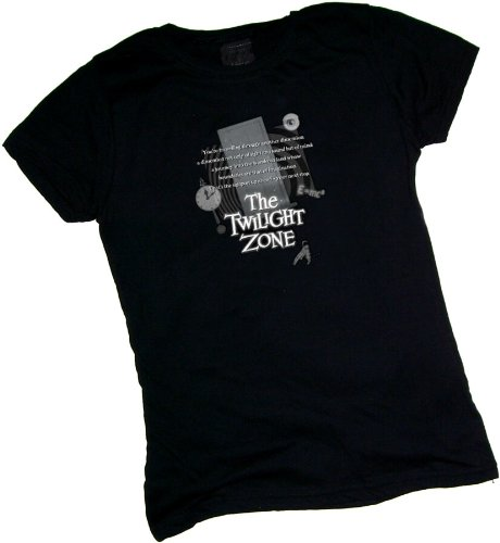 Opening Monologue -- The Twilight Zone Crop Sleeve Fitted Juniors T-Shirt, Large